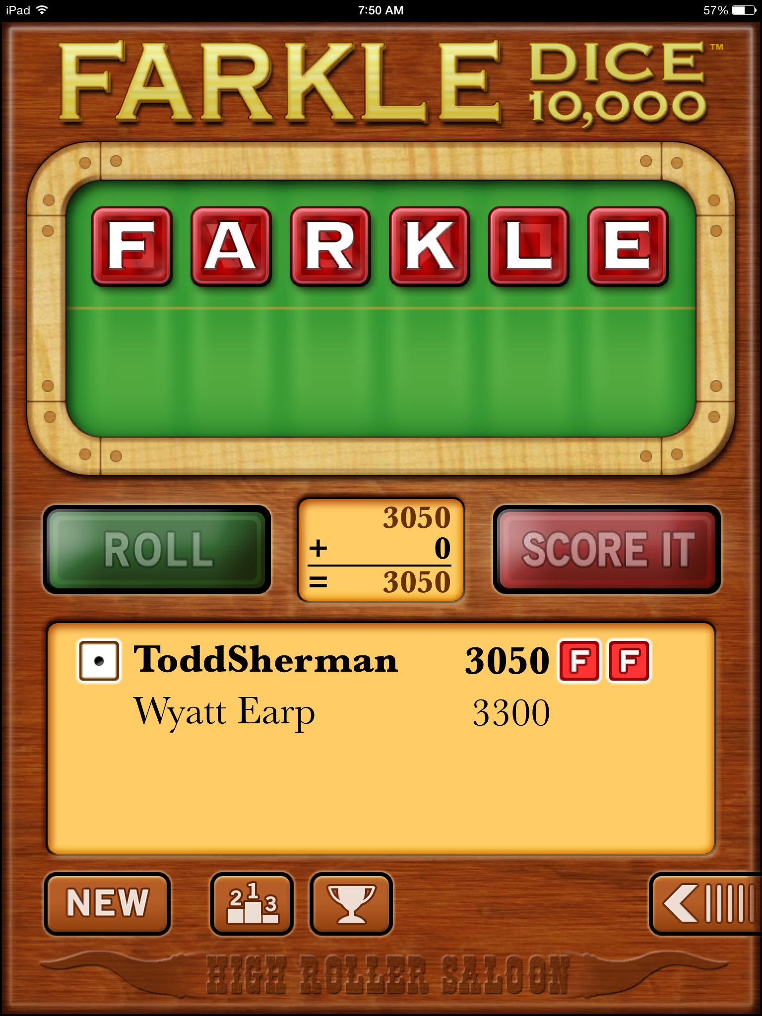 Farkle Dice Rolling a Farkle