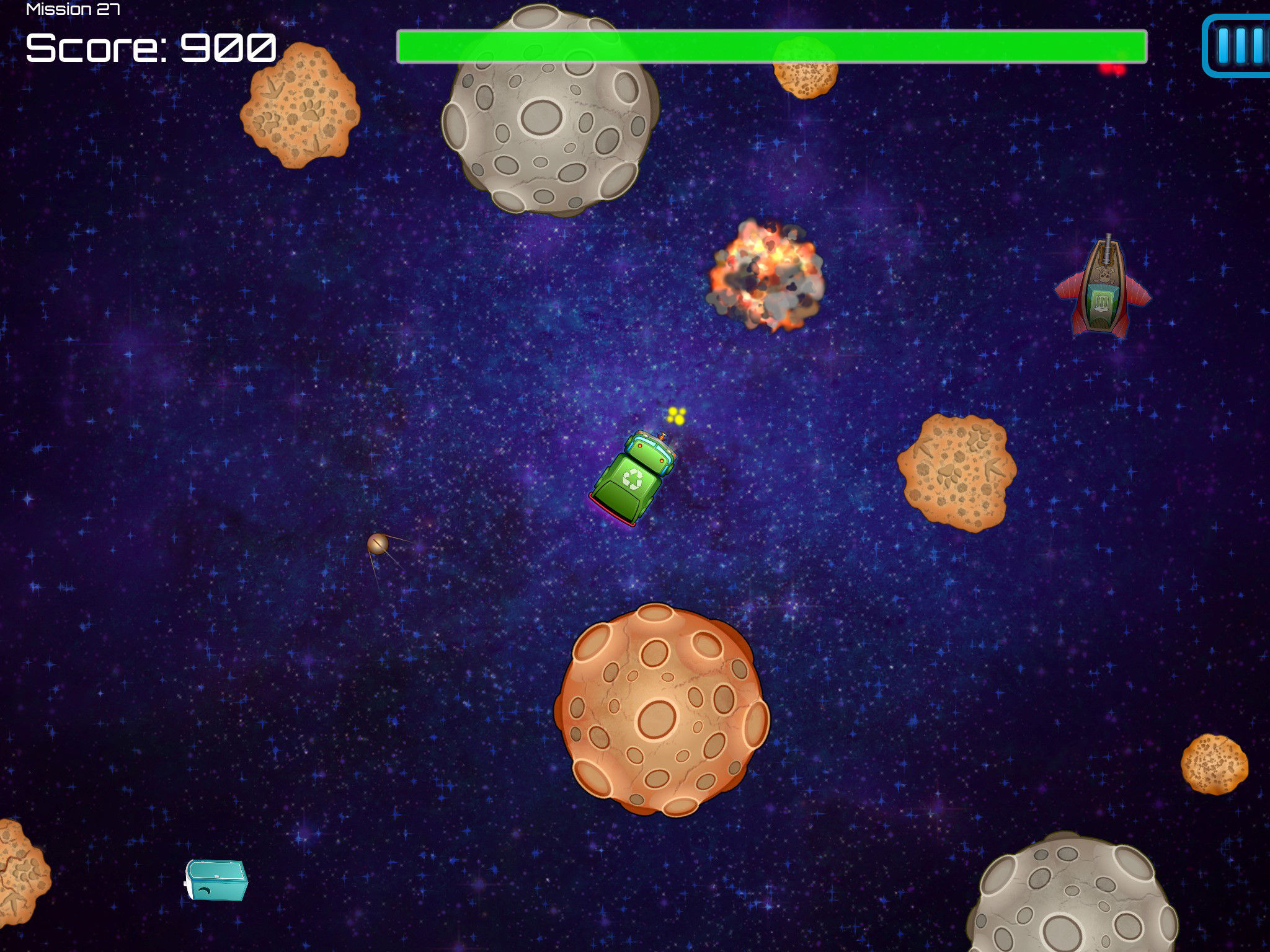 Space Waste Blow Up Asteroids